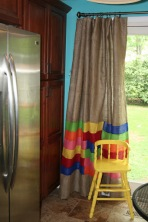DIY Burlap Curtain for my new sliding door...